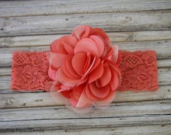 Baby Headband, Coral Flower Headband, Baby Flower Headband, Big Flower Headband, Baby Girl Headband, Coral Baby Headband, Lace Headband, 909