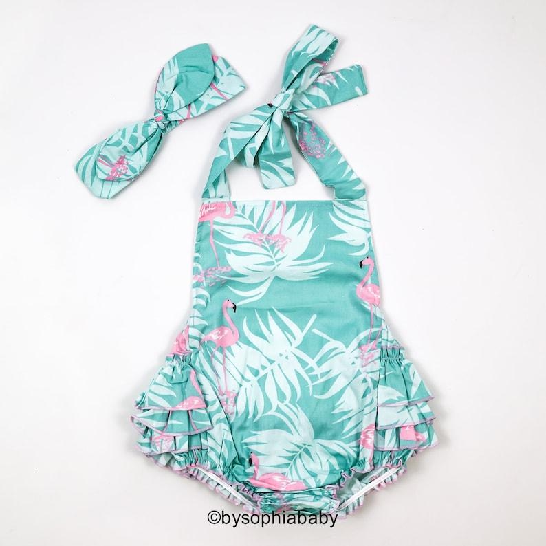 9c64aeb89789 Flamingo Baby Girl Romper Set Baby Romper and Headband