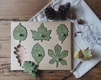 Wooden Toys / Wooden leaf puzzle / Waldorf  Toys / Montessori Toys / Educational Toys / Learning Toys / Eco Friendly Toy / Toddlers Toy