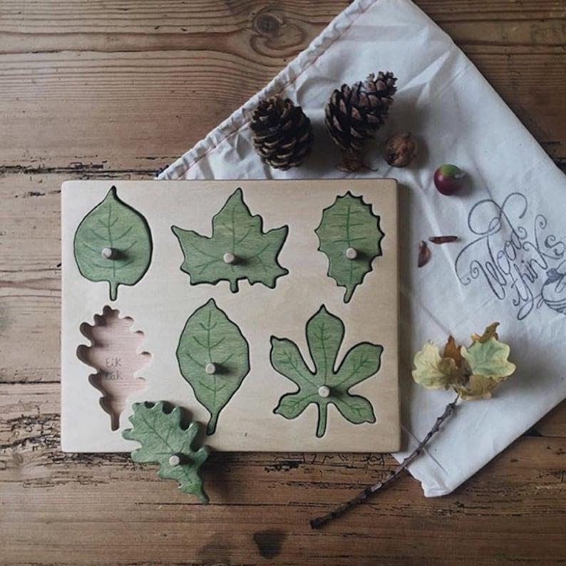 Wooden Toys / Wooden leaf puzzle / Waldorf  Toys / Montessori image 0