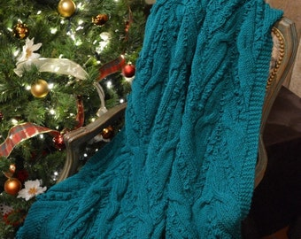 "Cable Knitted Teal Afghan / Throw / Blanket 65"" X 54"" - Ready to Ship"