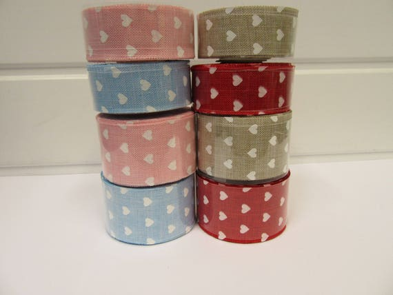 2 metres or Full Roll 25mm 38mm Vintage Hessian Large Polka Dot Ribbon 25 38