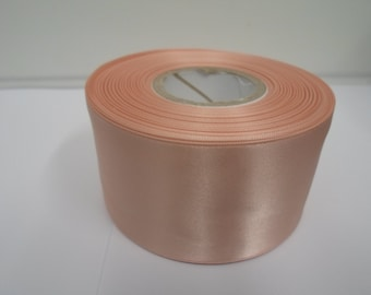 3mm 7mm 10mm 15mm 25mm 38mm 50mm Rolls, Peach Satin ribbon, 2, 10 or 25 metres, Double sided,