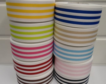 15mm or 38mm deck chair stripe grosgrain ribbon, 20 metres, Double sided 2 metres or full 20 metre roll