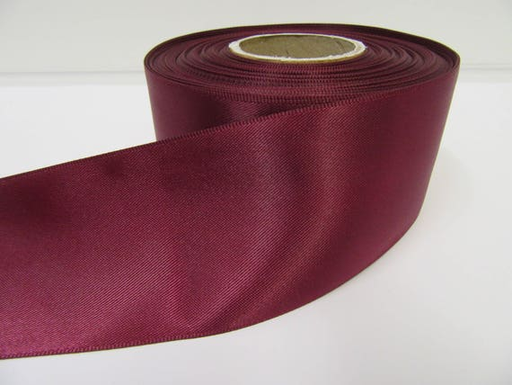 wide full 25m roll taffeta satin Burgundy Red fabric ribbon 40mm 1.5 inch