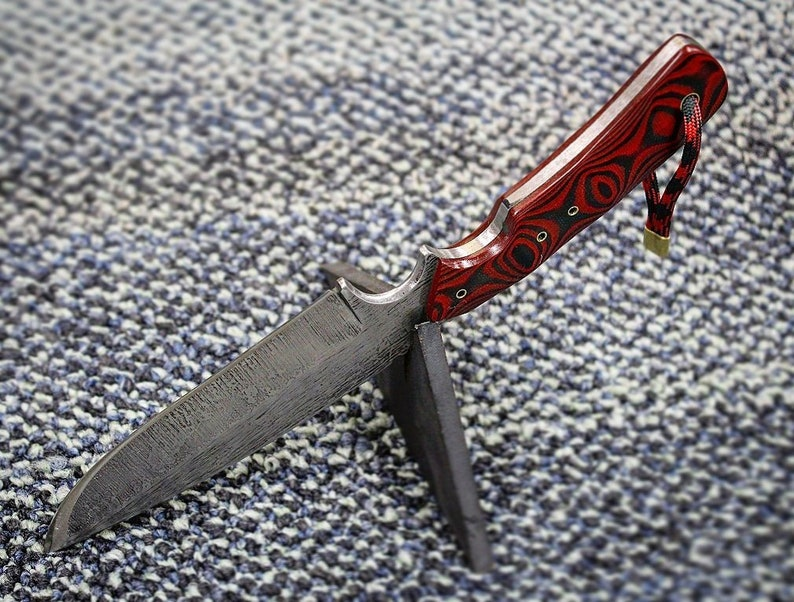 ii Hiker in 1095 with red/black G10 scales and brass hardware, custom  handmade knife