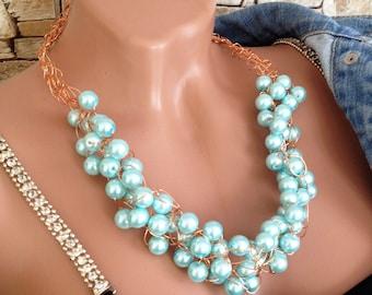 Crochet wire necklace bracelet Pearl blue jewelry set Boho chic necklace bracelet Chunky wire wrapped necklace Beaded wire necklace Gift her