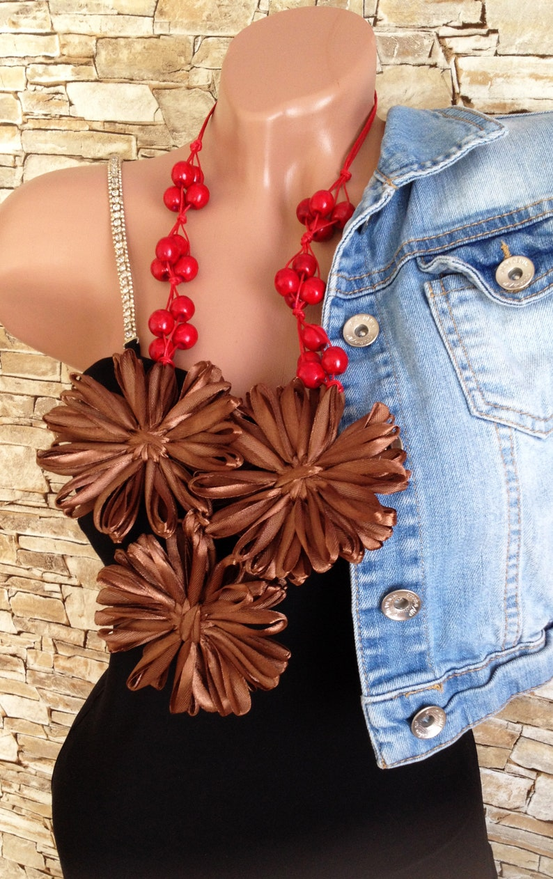 Coffee brown red wooden beads flowers necklace Chunky bib necklace Statement necklace Boho wrap beaded ribbons necklace Ukraine necklace