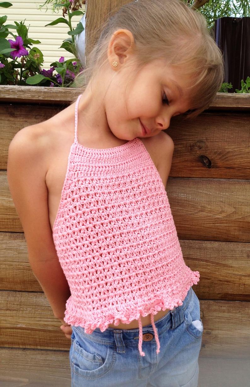 c6a925faa Crochet toddler top Pink crop top Crochet halter top Boho wrap | Etsy