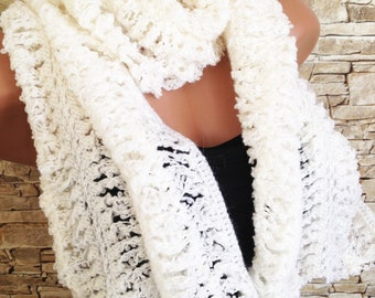 White crochet scarf Long knit scarf Wool women scarf Lace neck warmer scarf Gift for her Chunky scarf Bohemian wrap scarf Hairpin loom scarf