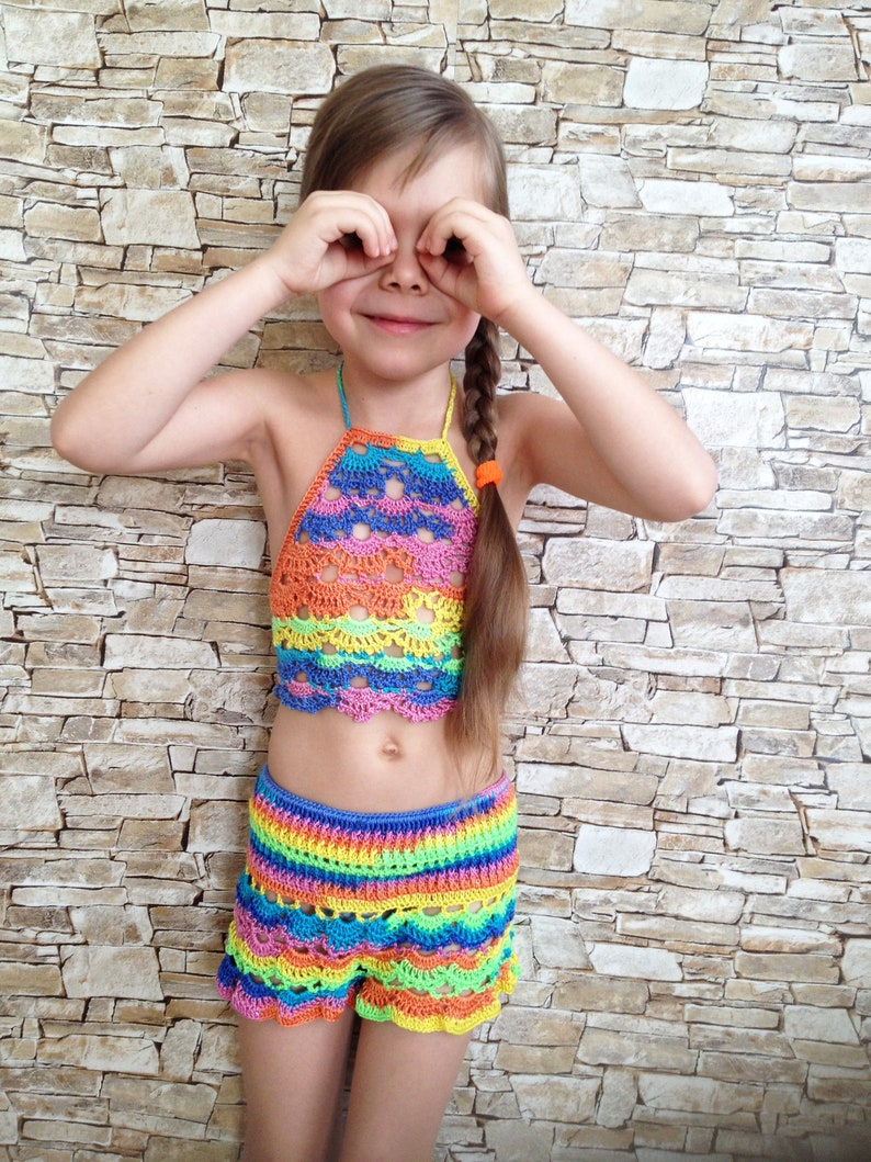 fb50a56677741 Crochet toddler set crop top   shorts Colorful beach clothing