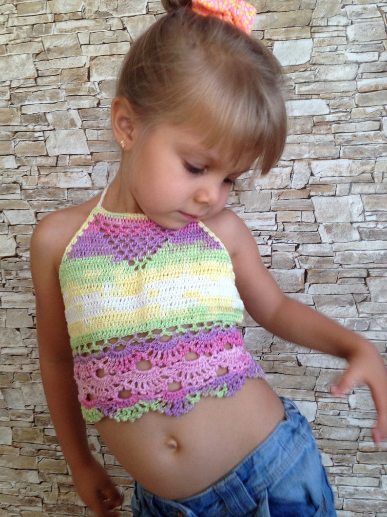 1fe8c123bb1 Crochet toddler baby crop top Colorful open back kids tops | Etsy
