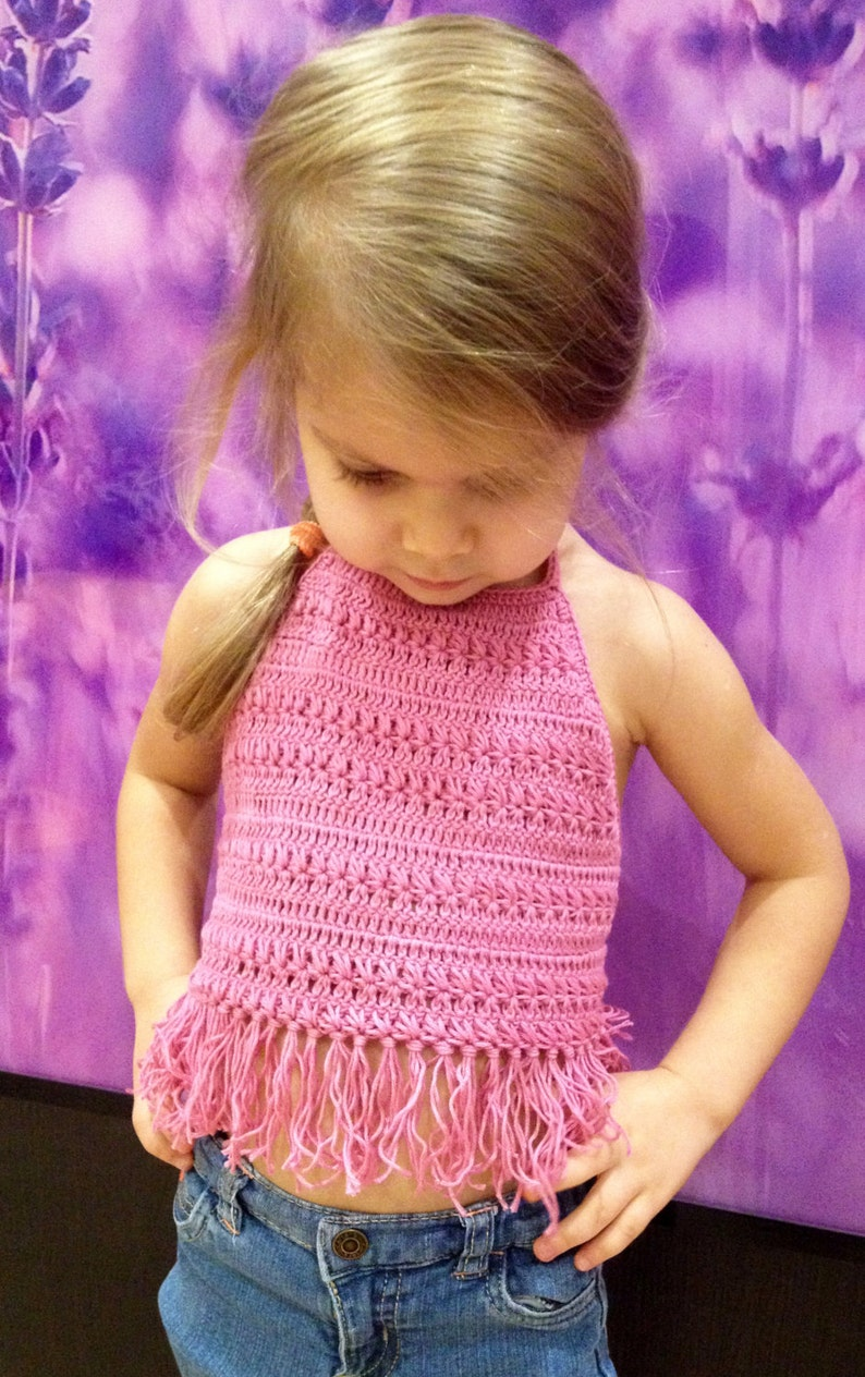 7a5d78d7d64c63 Pink Crochet Toddler Crop Top  Fringe festival top  Baby