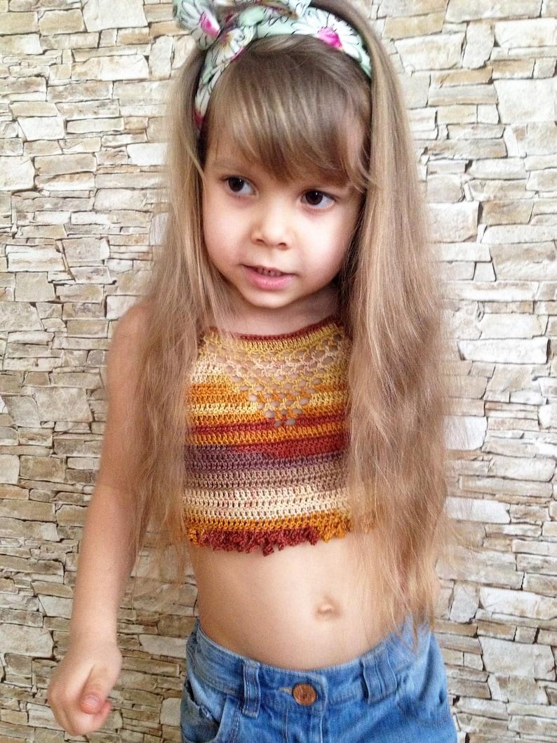Crochet toddler top Pink crochet crop top Open back halter
