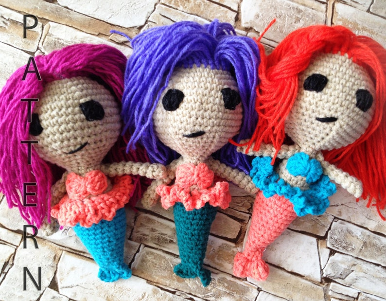 Crochet Amigurumi Pattern Mermaid Doll Diy Crochet Toy Pattern Etsy