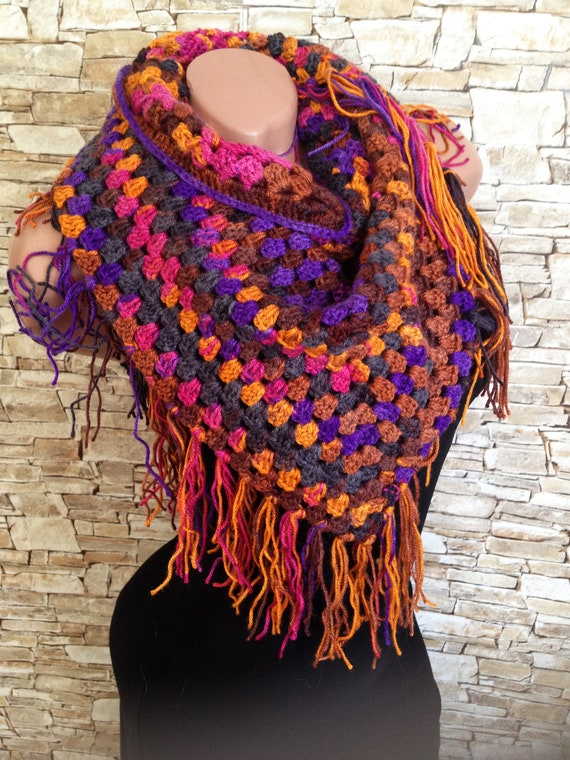 Granny Triangle Crochet Scarf Crochet Baktus Scarf Bandana Etsy