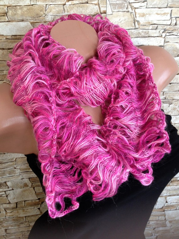 Crochet Lace Pink Scarf Hairpin Loom Crochet Scarf Mohair Etsy