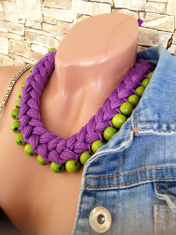Elegant wooden necklace BLUE GREEN PURPLE Necklace made of wood stainless steel bib for her unique gift wooden necklace glass necklace