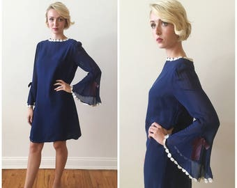 Vintage 1960s - 70s Blue Silk Chiffon Shift Dress with Butterfly Sleeves