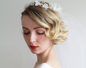 Vintage 1980s Flower Crown with Attached Veil