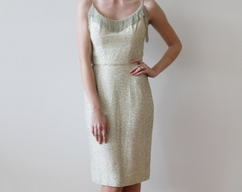 Vintage 1950s - 60s Ivory Silk Party Dress with Silver Beaded Details and Fringe