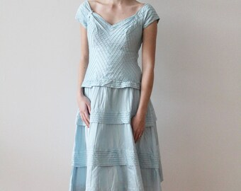 Vintage 1950s - 1960s Sky Blue Pima Cotton Tiered Party Dress