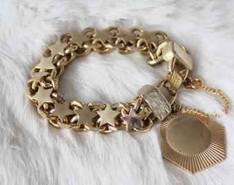 Mid Century Sun and Stars Gold Tone Chain Bracelet