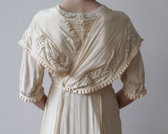Vintage 1910s Silk Wedding Gown with Asymmetrical Bodice and Hand Embroidery Details