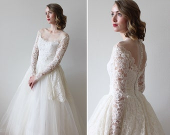 5437b42a143c Vintage 1950s Wedding Dress with Off the Shoulder Illusion Neckline