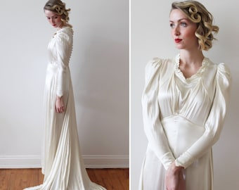 43fac51e920d Vintage 1930s Long Sleeved Satin Empire Waist Wedding Dress with Ruffled  Neckline