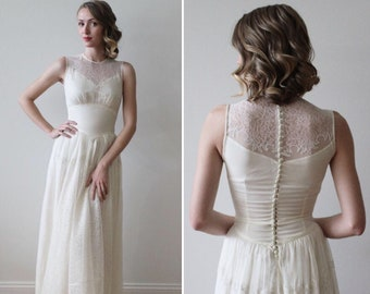 4e5be404 Vintage 1930s Sleeveless Wedding Dress with Lace Illusion Neckline and Lace  Train