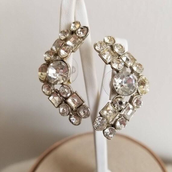 1950's Rhinestone Ear Climbers - Wedding, Bridal,