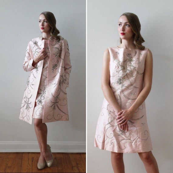 Vintage 1960's Beaded Pink Mini Dress and Matching Jacket Ensemble