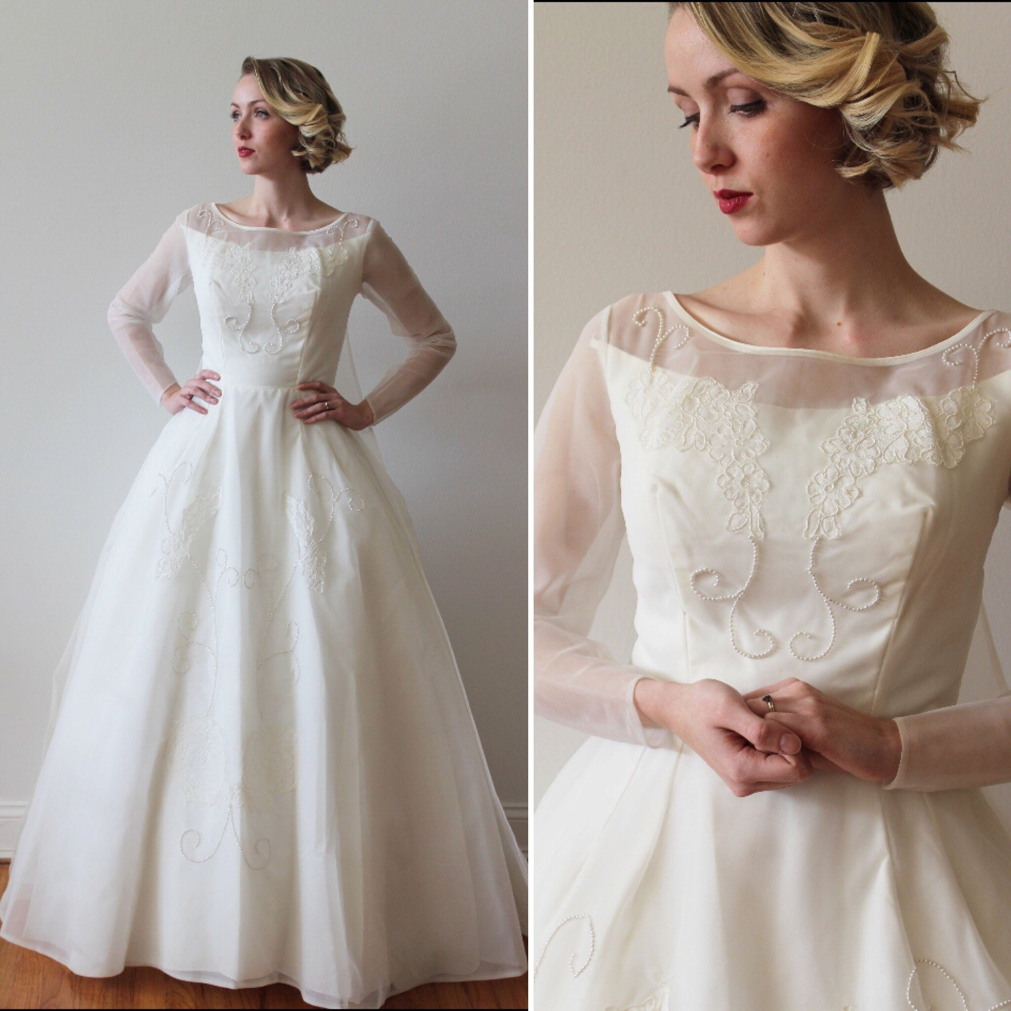 Vintage 1960s Long Sleeved Boat Neck Wedding Dress With Etsy