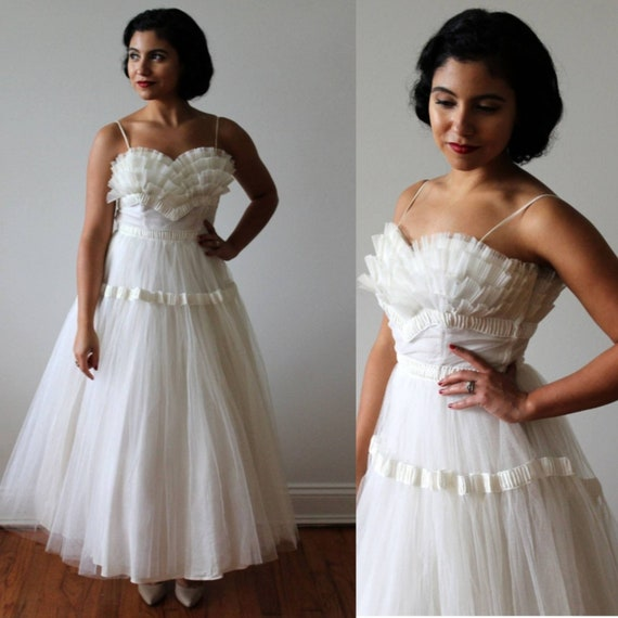 1950s Tea Length Tulle Wedding Dress