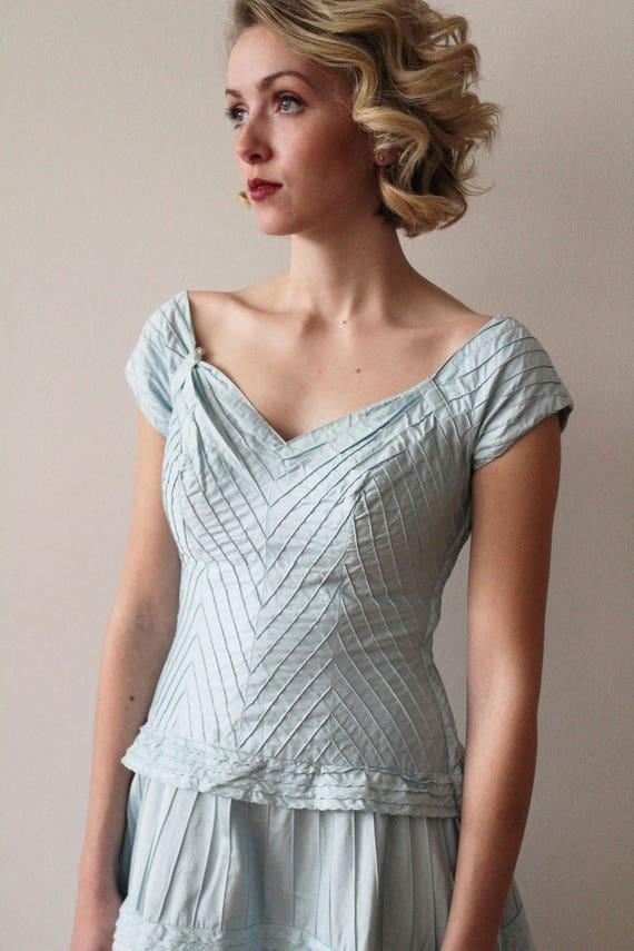 Vintage 1950s - 1960s Sky Blue Pima Cotton Tiered… - image 6