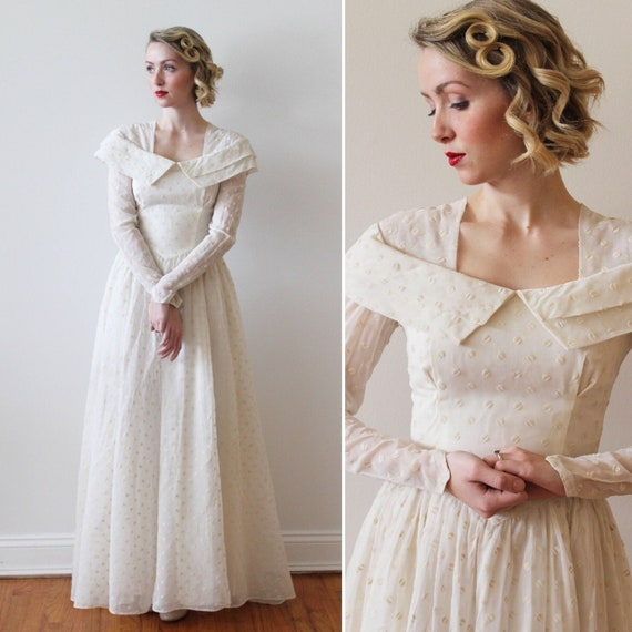 Vintage 1940s Long Sleeved Polka Dot Wedding Gown