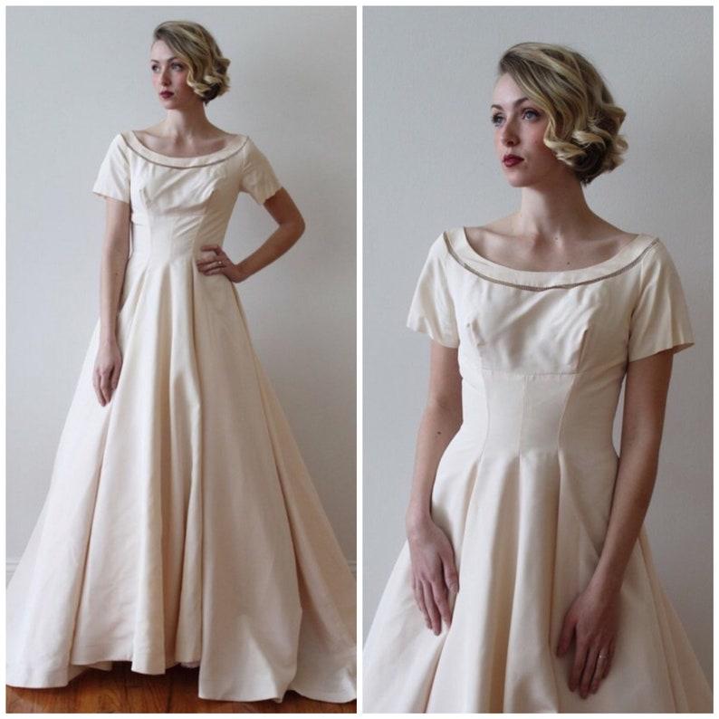 Vintage 1950s Short Sleeved Blush Pink Wedding Dress Etsy