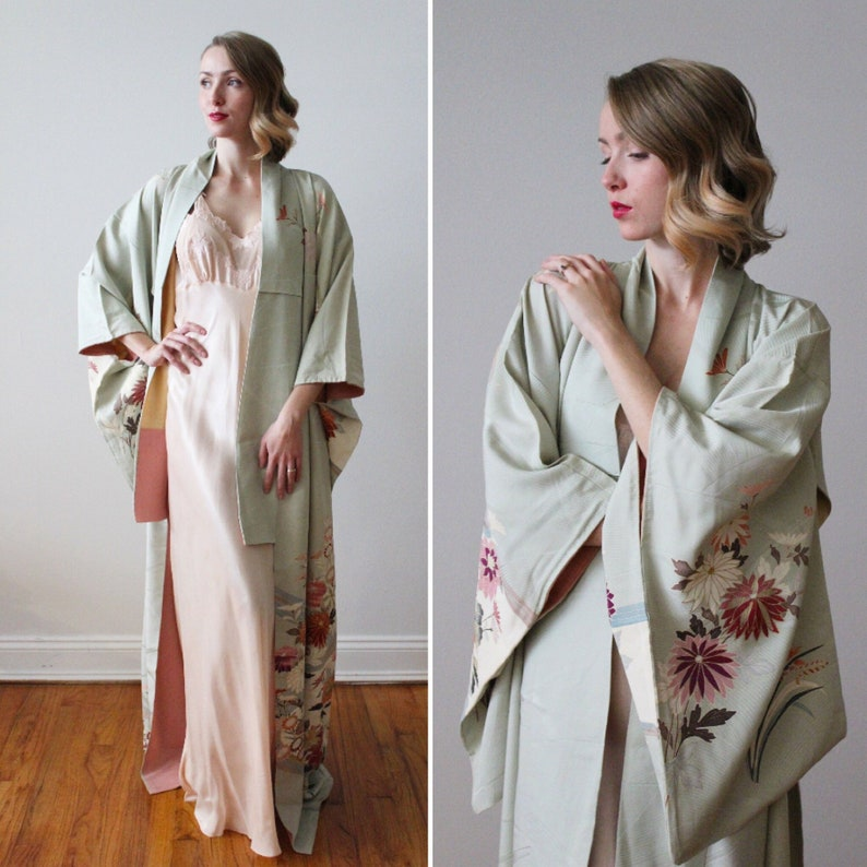 Vintage Light Seafoam Green Full Length Traditional Silk Kimono With Floral Details