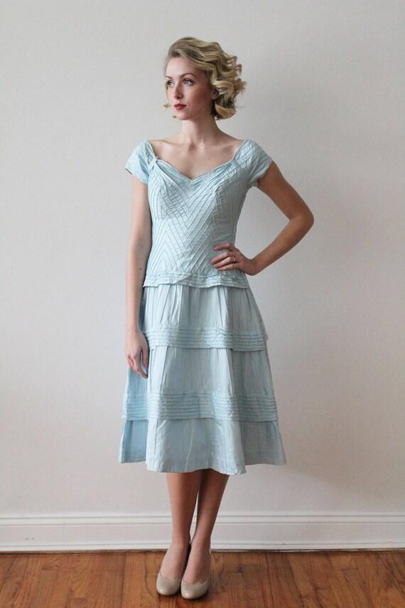 Vintage 1950s - 1960s Sky Blue Pima Cotton Tiered… - image 2