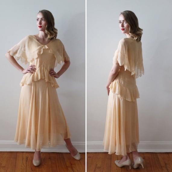 Vintage 1920's Peach Silk Wedding Dress with Scall