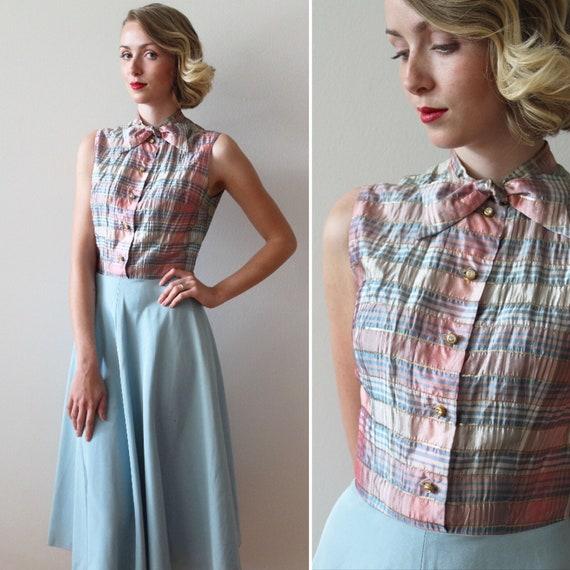 Vintage 1950s - 60s Plaid Party Dress with Bias Cu