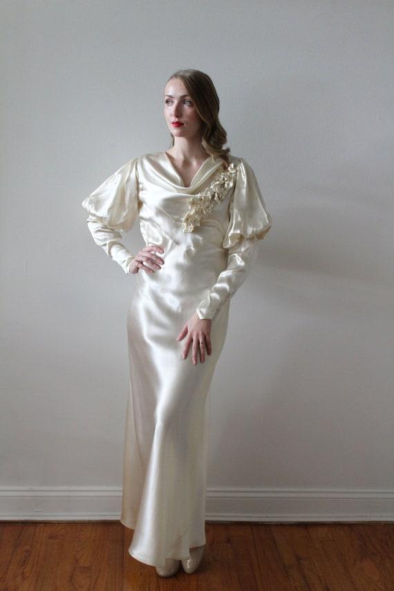 Vintage 1930's Bias Satin Long Sleeve Wedding Dre… - image 2