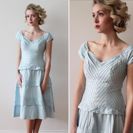 Vintage 1950s - 1960s Sky Blue Pima Cotton Tiered… - image 1