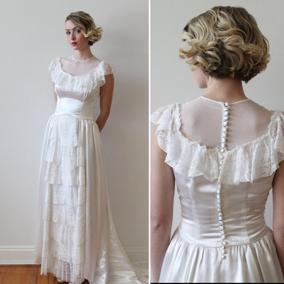 Vintage 1940s Off The Shoulder Illusion Neckline Wedding Dress Etsy