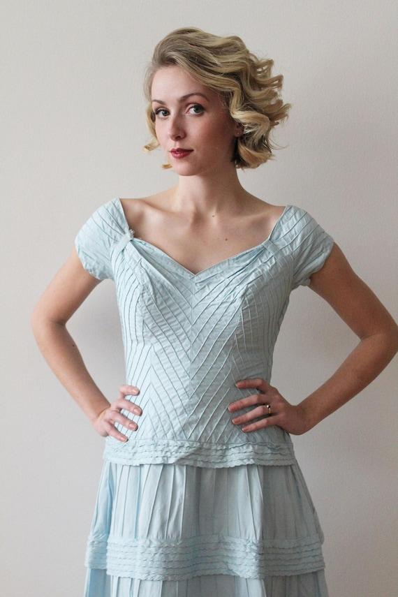 Vintage 1950s - 1960s Sky Blue Pima Cotton Tiered… - image 3