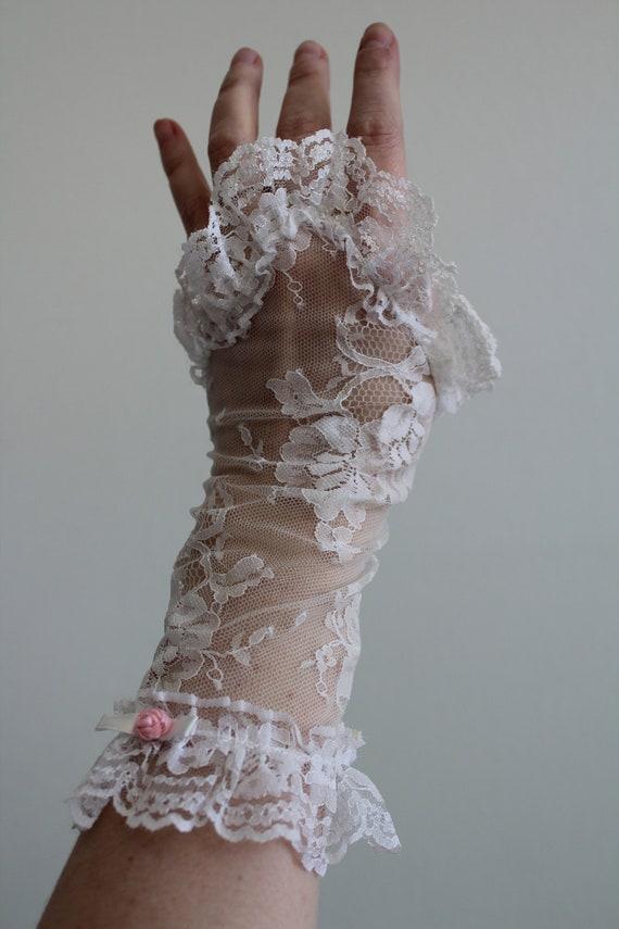 Vintage 1980's Fingerless White tone Lace Gloves -