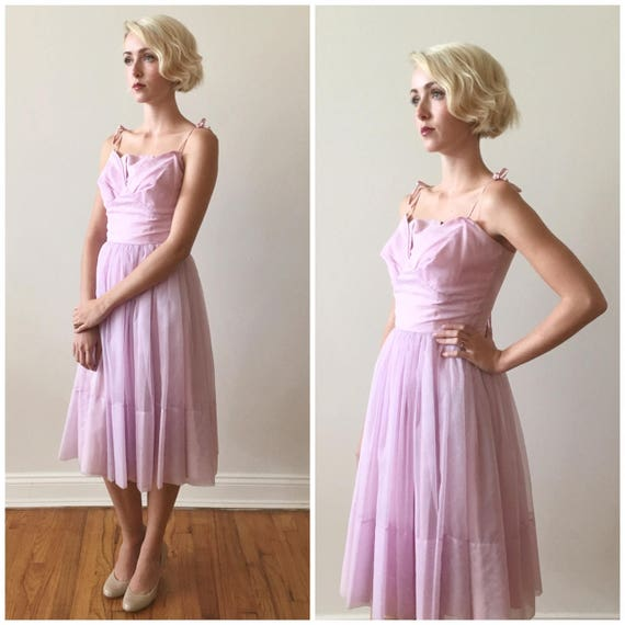 Vintage 1960s Orchid Colored Organza Party Dress b