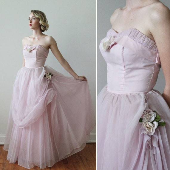 Vintage 1950s Strapless Organza Ball Gown with Fau
