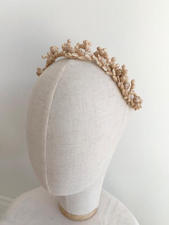 Vintage 1950's Handmade Sparkle Bridal Headpiece -